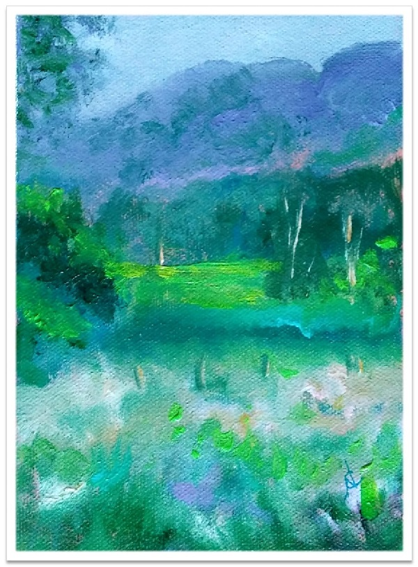 """JUST BEYOND ~ 5"""" x 7"""" oil on canvas"""