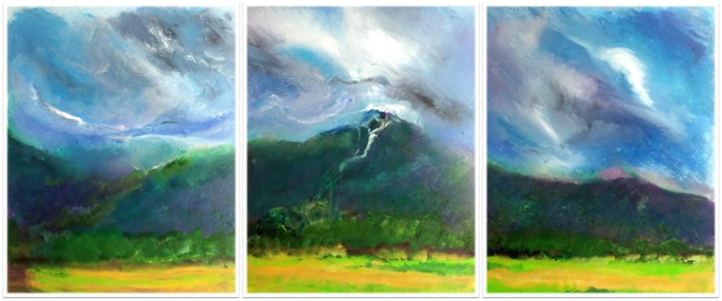 """MANSFIELD ~ Triptych ~ 3 (30"""" x 72"""") oil on canvas"""