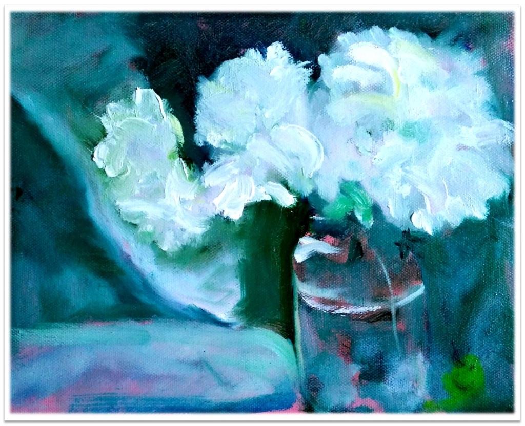 """THREE PEONIES ~ 8"""" x 10"""" oil on canvas"""