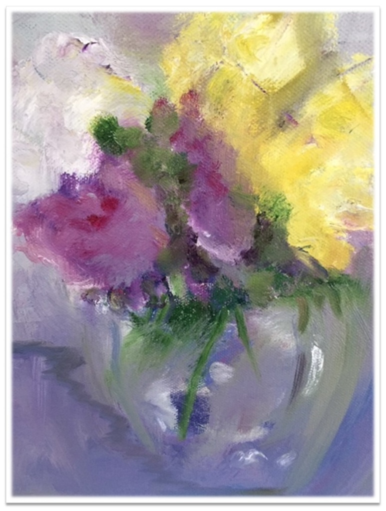 """PINK & YELLOW IN THE AFTERNOON ~ 9"""" x 12 oil on canvas"""
