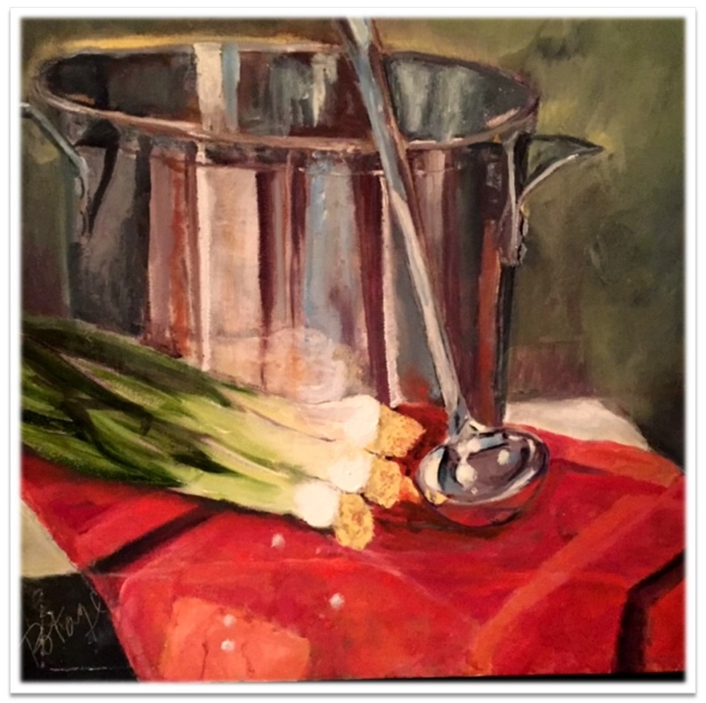 "POTAGE ~ 16"" x 16"" oil on canvas"