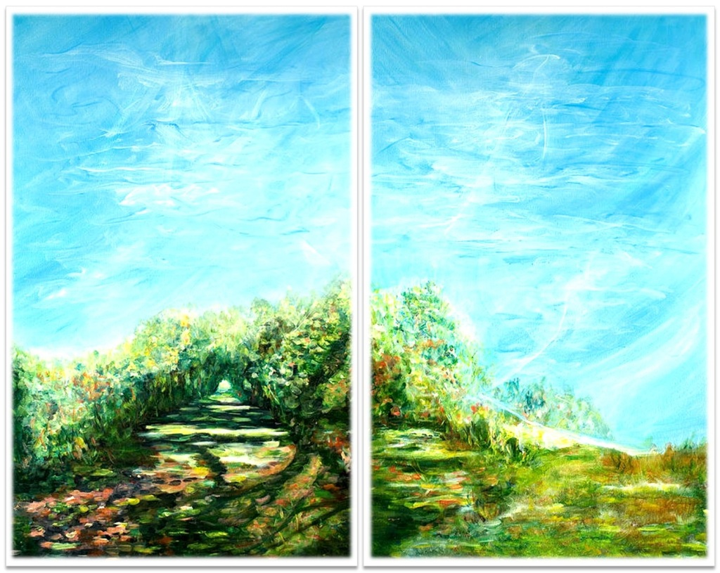 """THE WALK ~ Diptych ~ 2 (48"""" x 60"""") oil on canvas"""