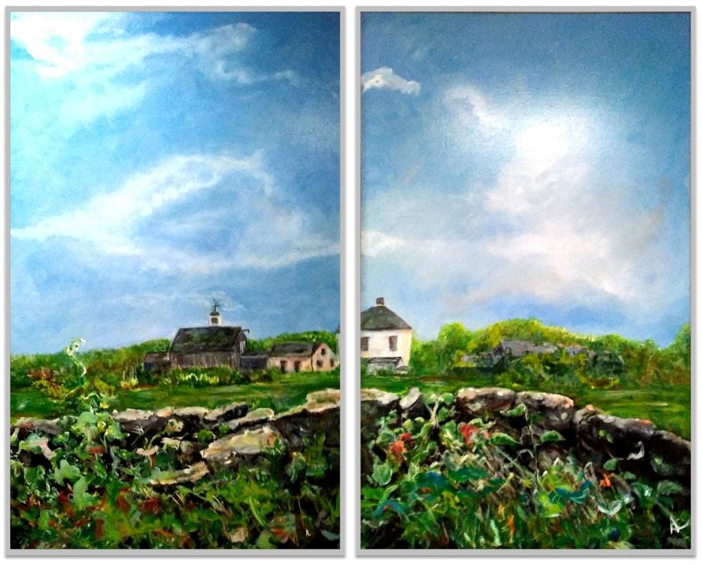 """THOMAS CASEY'S FARM ~ Diptych ~ 2 (48"""" x 60"""") oil on canvas"""