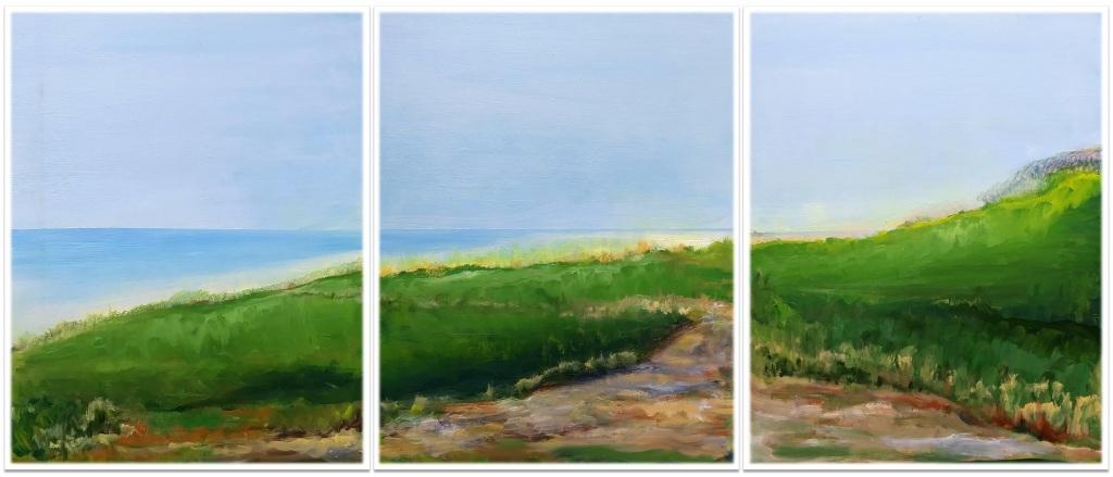 "GREENWAYS - BLOCK ISLAND ~ Triptych ~ 3 (30"" x 72"") oil on canvas"