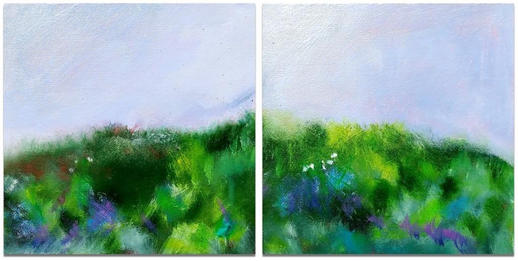 "OPEN FIELD ~ Diptych ~ 2 (12"" x 12"") oil on canvas"